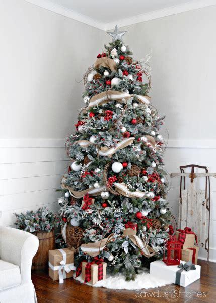 rustic christmas tree sawdust  stitches