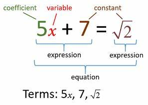 Basic Algebra Terms (examples, solutions, videos)