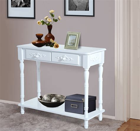 white entry table with drawers wood 2 drawer hallway entryway console table w shelf