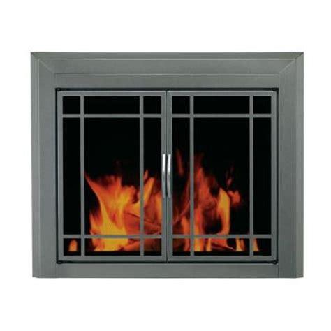 Pleasant Hearth Edinburg Large Glass Fireplace Doorsed
