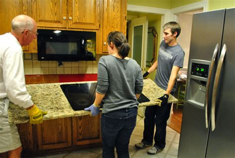 Granite Countertop Removal by Moving Cabinets Around Removing Granite Counters