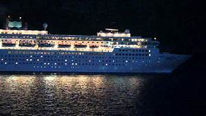 CRUISE SHIP ZENITH LEAVING GREECE BLOWING HORN AT NIGHT ...