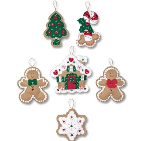 vintage frosted gingerbread embroidered felt cookie christmas ornaments weekend kits blog bucilla felt christmas ornaments kits