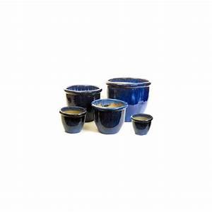 Pot En Terre Cuite émaillée : pot en terre cuite maill e bleu d40 cm plantes et ~ Dailycaller-alerts.com Idées de Décoration