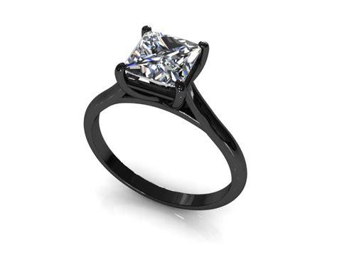 wedding rings black band princess cut engagement