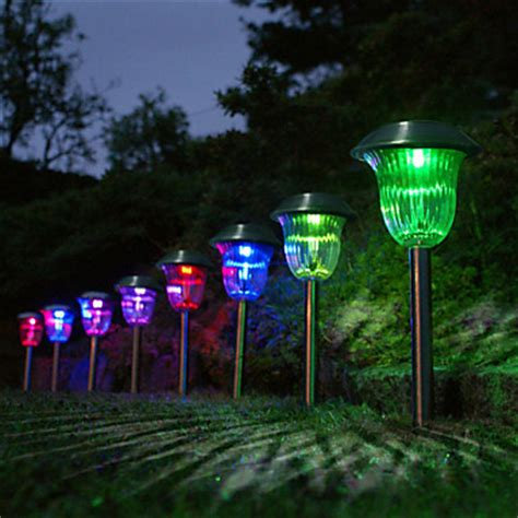 10pcs 1 led white color changing solar stainless steel