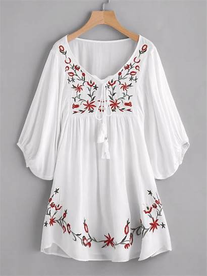 Floral Embroidery Smock Sleeve Tie Adorewe Flowy