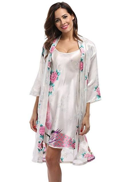 piece set women silk peacock kimono robes sexy lingerie