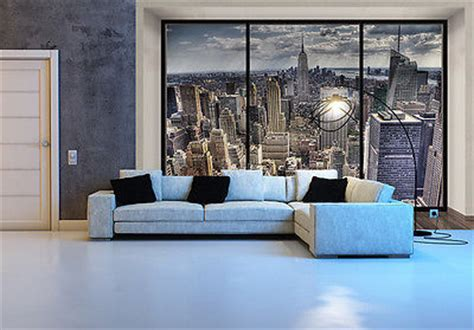 wallpaper mural photo new york skyline wall decor paper poster penthouse
