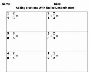 Adding Fractions With Unlike Denominator - Boxfirepress