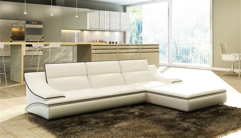 Divani Casa 5076b White Bonded Leather Sectional Sofa