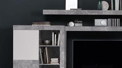 wohnwand zumba anbauwand  beton optik weiss mit led