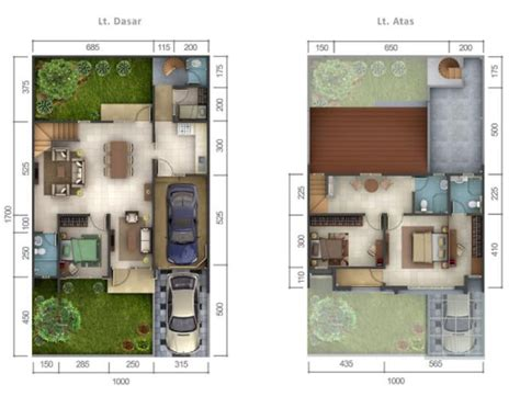 denah rumah minimalis ukuran  meter  kamar tidur