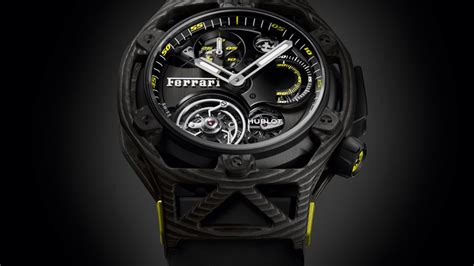 Collections of luxury watches for men and ladies, reflecting swiss watchmaking excellence. Hublot Techframe Ferrari Tourbillon Chronograph Carbon/Yellow : News of Hublot