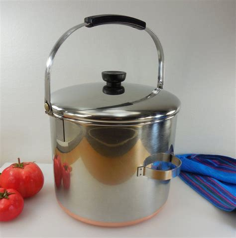 sold revere ware tall  quart bail handle stock pot lid vintage pre  process pat