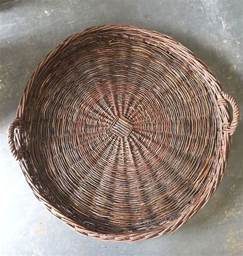 Diy basket and placemat wall decor. Vintage Oversized Rustic Fruit Gathering Basket Tray Wicker Wall Decor | Wicker, Basket tray ...