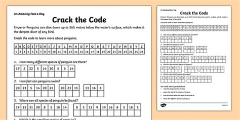 Crack The Code Worksheet  Activity Sheet  Amazing Fact A Day
