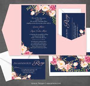 wedding invitations utah navy floral wedding invitation new product jeneze designs
