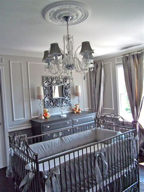 Chandelier For Baby Nursery by Glamorous Gray Baby Nursery With Chandelier