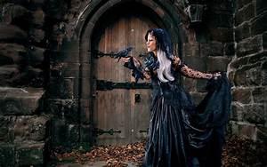 Wallpaper, Fantasy, Art, Fantasy, Girl, Dyed, Hair, Black, Dress, Witch, Fashion, Crow, Mythology