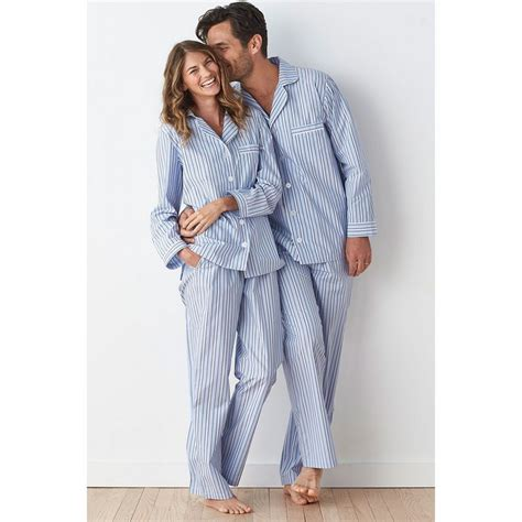 P114 Stripe Pajamas Set plaid mens womens striped pajama set the company store