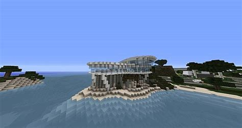 ultra modern cliff beach house minecraft project
