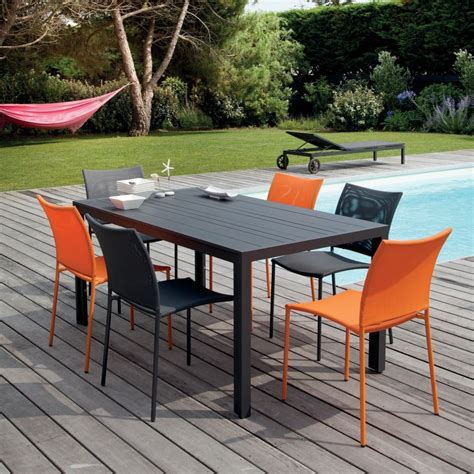Salon De Jardin Globe  Table Aluminium + 6 Chaises Gris