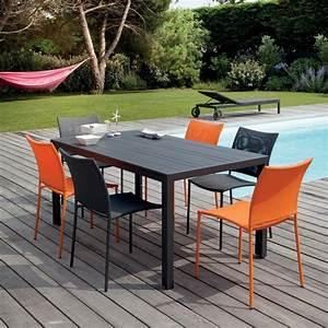 Table Et Chaise Jardin : salon de jardin globe table aluminium 6 chaises gris orange plantes et jardins ~ Teatrodelosmanantiales.com Idées de Décoration