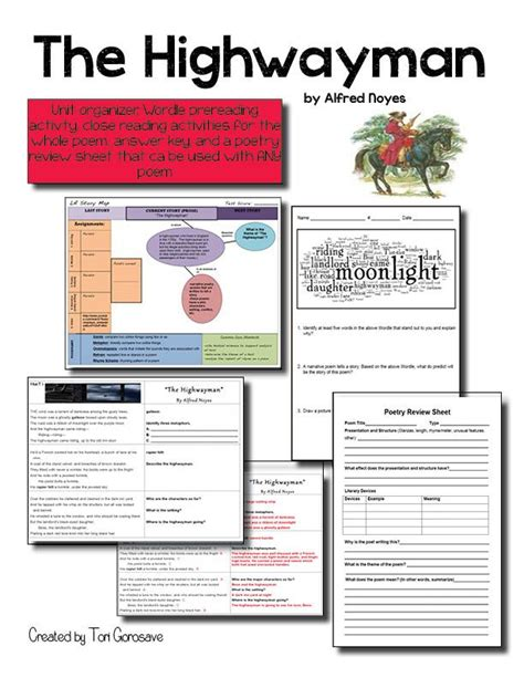 the highwayman worksheet papers and borders comprehension student and