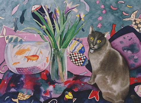 Matisse Cat Painting By Eve Riser Roberts