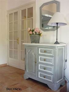 peindre meuble blanc effet vieilli 1 meuble bas style With meuble effet vieilli blanc