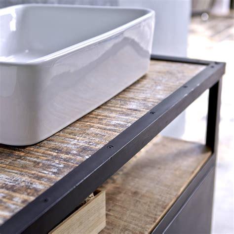 canap maison meuble sous vasque en mtal noir et manguier pour salle de bain tikamoon