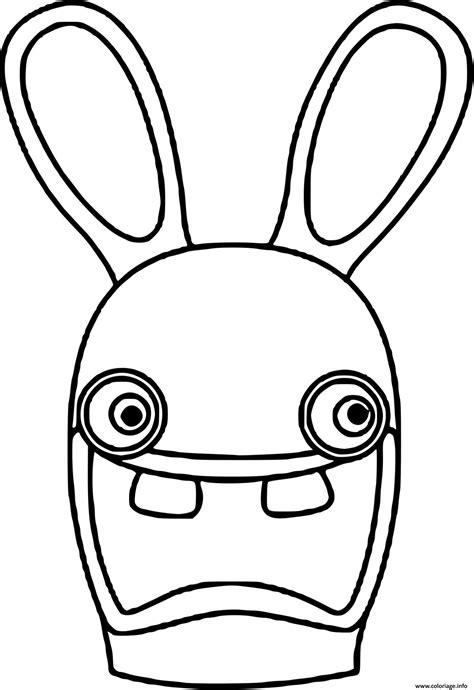 coloriage tete lapin cretin dessin