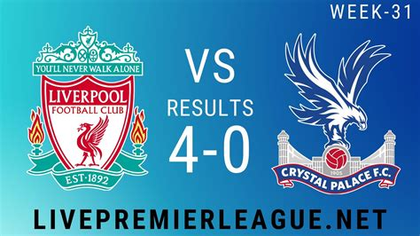 Liverpool Vs Crystal Palace | Week 31 Result 2020