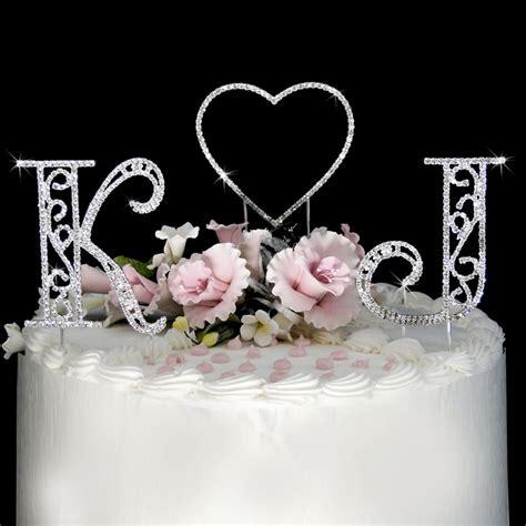 roman swarovski crystal initials heart wedding cake topper set wedding cake topppers