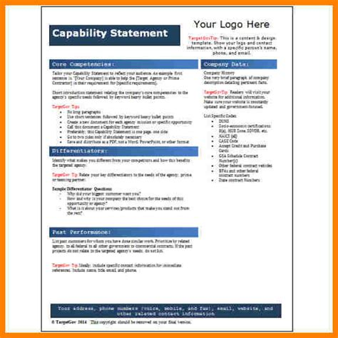 resume capability statement exles 11 free capability statement template word farmer resume