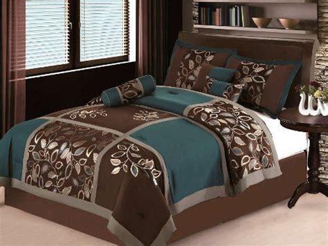 7 Pc Modern Brown Teal Blue Patchwork Comforter Set / Bed
