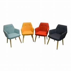 Chaise Scandinave Accoudoir : fauteuil inspiration scandinave tissu gris pieds bois 59x67x82cm oslo ~ Teatrodelosmanantiales.com Idées de Décoration