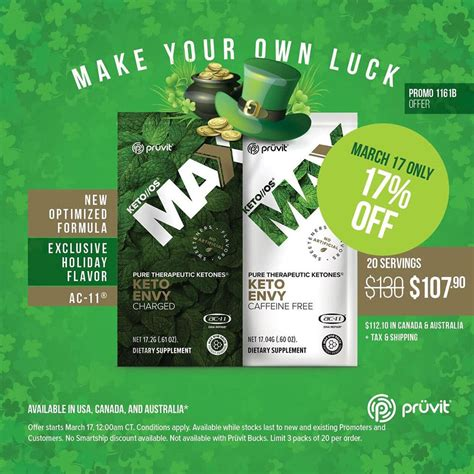pruvit st patricks day sale   ketone products
