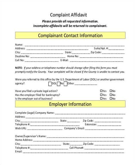 criminal legal forms affidavit form template