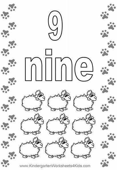 Coloring Number Printable Pages Numbers Worksheets Nine