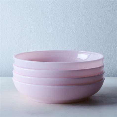 pink glass shallow bowls set    food