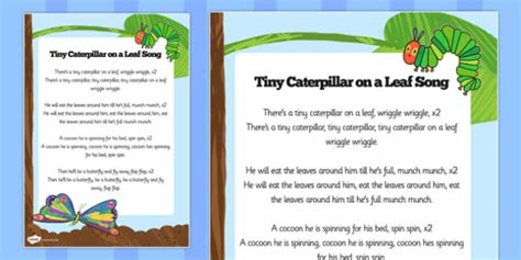free song sheet to support teaching on the hungry 847 | T T 7066 The Very Hungry Caterpillar Song Words ver 1