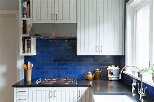 Cobalt blue backsplash kitchen contemporary with stainless
