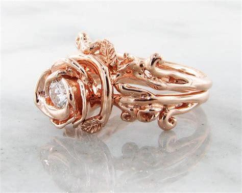 diamond rose gold wedding ring set rose garland