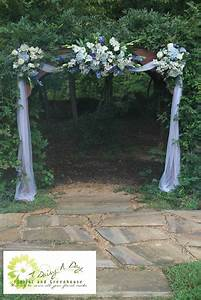 Arbor decoration with blue and white flowers and tulle for Decorating a trellis for a wedding
