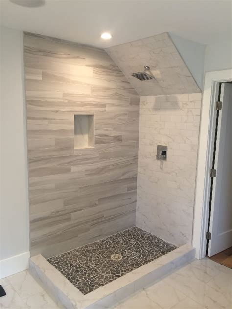 walk in shower ideas for bathrooms glass enclosure with angled ceiling patriot glass and