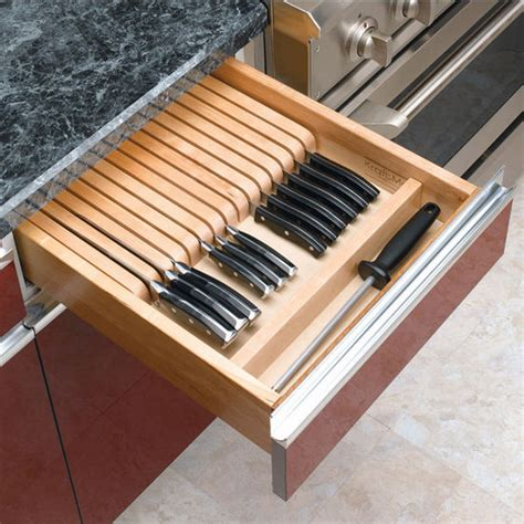 Kitchen Knife Drawer by Drawer Organizers Wood Knife Block Kitchen Drawer Insert