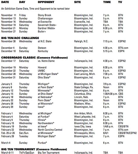 indiana announces   basketball schedule