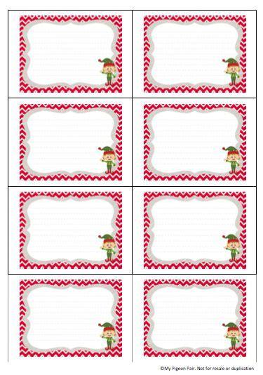blank elf   shelf clue cards  printable